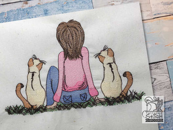 "Girl with Cats - Fits a  4x4"", 5x7"" & 6x10"" Hoop - Machine Embroidery Designs"