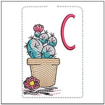 """Prickly Pear ABCs Keychain - C - Fits a 5x7"""" Hoop - Machine Embroidery Designs"""