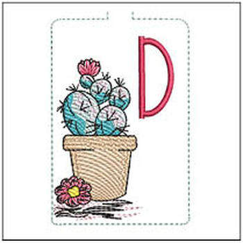 """Prickly Pear ABCs Keychain - D - Fits a 5x7"""" Hoop - Machine Embroidery Designs"""