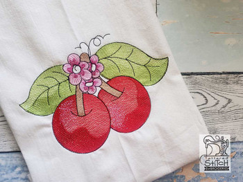 "Cherries - Fits into a 4x4"", 5x7"" & 6x10"" Hoop - Instant Downloadable Machine Embroidery"