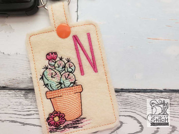 """Prickly Pear ABCs Keychain - E - Fits a 5x7"""" Hoop - Machine Embroidery Designs"""