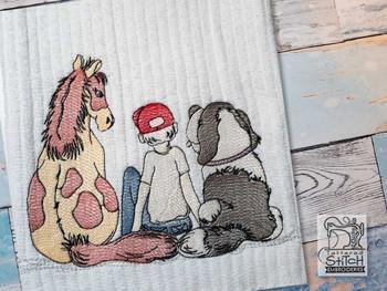 "A Boy's Best Friends - Fits a  4x4"", 5x7"" & 6x10"" Hoop - Machine Embroidery Designs"