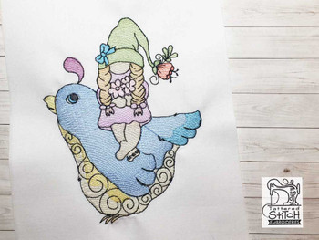 "Gnome on Bird  -  Fits a 4x4, 5x7 & 6x10""  Hoop - Machine Embroidery Designs"