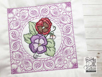 """Pansies Cluster Quilt Block - Fits a  5x5"""", 6x6"""", 8x8"""" & 10x10""""  Hoop - Machine Embroidery Designs"""