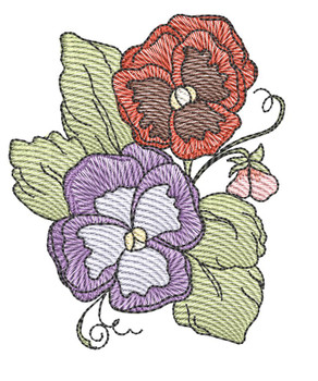 "Pansies Cluster (Flowers Only - NO Background)-  Fits a 4x4"" and 5x7"" Hoop - Machine Embroidery Designs"