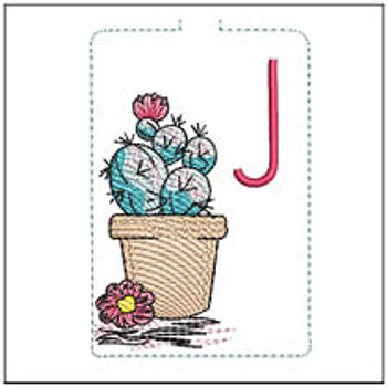 """Prickly Pear ABCs Keychain - J - Fits a 5x7"""" Hoop - Machine Embroidery Designs"""