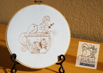 Finch w-Butterfly Teacup Redwork - Embroidery Designs