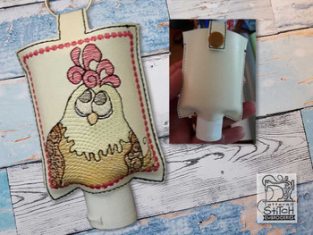 """Chicken Hand Sanitizer Holder (For 2 Ounce Sized Bottles) - Fits a 5x7"""" Hoop - Machine Embroidery Designs"""