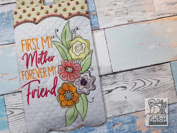 "My Mother My Friend Garden Flag - Fits  5x7, 6x10  and 8x12"" Hoop - Instant Downloadable Machine Embroidery"