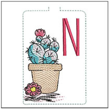 """Prickly Pear ABCs Keychain - N - Fits a 5x7"""" Hoop - Machine Embroidery Designs"""