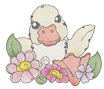 """Duckling- Fits a  4x4"""", 5x7"""" &  8x8"""" Hoop - Machine Embroidery Designs"""