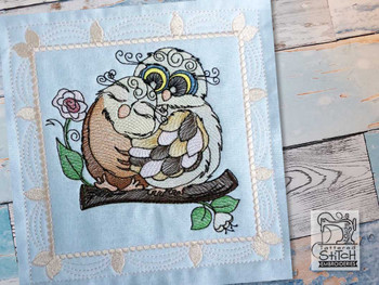 """Whimsical Owl Quilt Block #5 - Fits a  4x4"""", 5x5"""", 6x6"""", 7x7"""", 8x8"""" & 10x10""""  Hoop - Machine Embroidery Designs"""