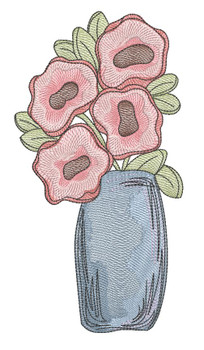 """Poppies Vase -  Fits a 4x4"""", 5x7"""" & 6x10"""" Hoop - Machine Embroidery Designs"""