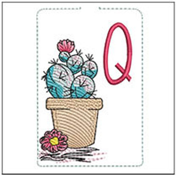 """Prickly Pear ABCs Keychain - Q - Fits a 5x7"""" Hoop - Machine Embroidery Designs"""