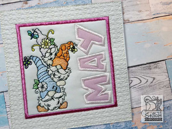 "May Gnome Quilt Block -  Fits a   6x6"", 7x7"", 8x8"" & 10x10""  Hoop - Machine Embroidery Designs"