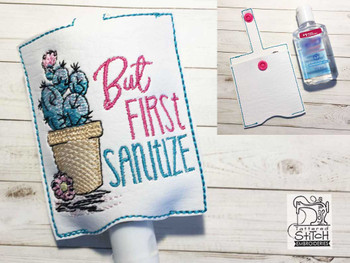 "Potted Prickly Pear Hand Sanitizer Holder (For 2 Ounce Sized Bottles) - Fits a 5x7"" Hoop - Machine Embroidery Designs"