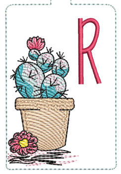 "Prickly Pear ABCs Keychain - R - Fits a 5x7"" Hoop - Machine Embroidery Designs"