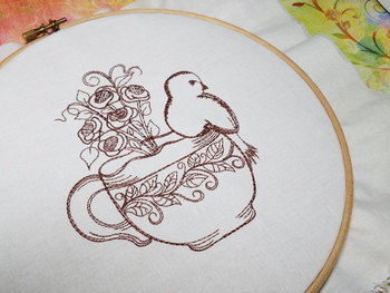 Finch Tea Rose Teacup Redwork - Embroidery Designs