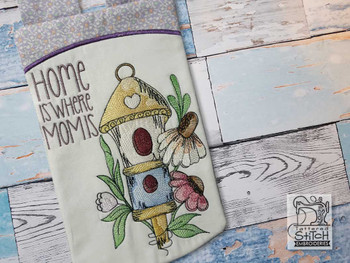"""Birdhouse Garden Flag - Fits  5x7, 6x10, 6x12""""and 8x14"""" Hoop - Machine Embroidery"""