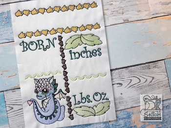 "Baby Dragon Birth Announcement - Fits into a 5x7"" & 6x10"" Hoop - Instant Downloadable Machine Embroidery"