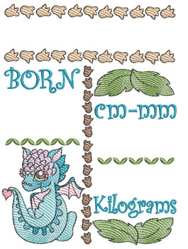 "Baby Dragon Birth Announcement (METRICS) - Fits into a 5x7"" & 6x10"" Hoop - Machine Embroidery"