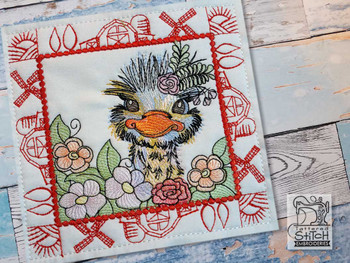 "Farm Animals - Emu Quilt Block #9  - Fits a 5x5"", 6x6"", 7x7"", 8x8"" & 10x10""  Hoop - Machine Embroidery Designs"
