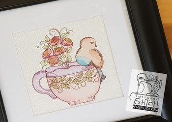 Finch Teacup Roses & VineTeacup Quilt Block - Embroidery Designs