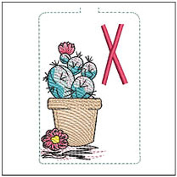 "Prickly Pear ABCs Keychain - X - Fits a 5x7"" Hoop - Machine Embroidery Designs"