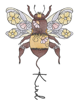 "Bee Kind  - Fits a 4x4"", 5x7 & 6x10"" Hoop - Machine Embroidery Designs"