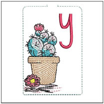 "Prickly Pear ABCs Keychain - Y - Fits a 5x7"" Hoop - Machine Embroidery Designs"