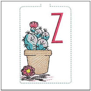 "Prickly Pear ABCs Keychain - Z - Fits a 5x7"" Hoop - Machine Embroidery Designs"