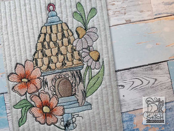 "Sketched Birdhouse 2 -  Fits a 4x4"", 5x7"" & 6x10"" Hoop - Machine Embroidery Designs"