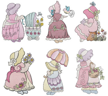 "Sunbonnet Sue Bundle -  Fits a 4x4""  5x7"" & 6x10"" Hoop - Machine Embroidery Designs"