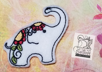Sweet Elephant Feltie 5x7 - Set of 6 - Embroidery Designs