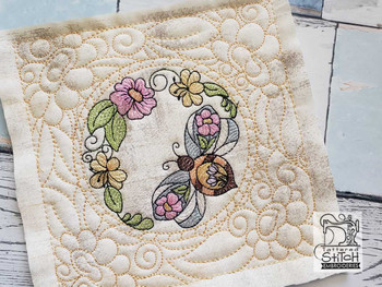 """Stained Glass Bee Quilt Block-Fits a  5x5"""", 6x6"""", 7x7"""", 8x8"""" & 10x10""""  Hoop - Machine Embroidery Designs"""