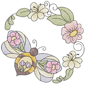 """Stained Glass Bee Laurel -Fits a  4x4"""", 5x7"""" & 7x7""""  Hoop - Machine Embroidery Designs"""