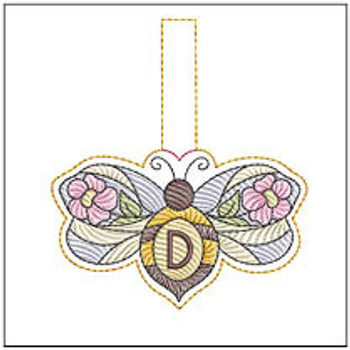"""Bee Charm ABCs - D - Fits a 4x4"""" Hoop - Machine Embroidery Designs"""