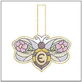 """Bee Charm ABCs - E - Fits a 4x4"""" Hoop - Machine Embroidery Designs"""