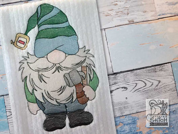 "Carpenter Gnome  -  Fits a 4x4, 5x7 & 6x10""  Hoop - Machine Embroidery Designs"