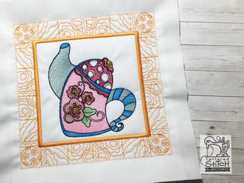 "Tea Kettle 1 Quilt Block-Fits a  5x5"", 6x6"", 7x7"", 8x8"" & 10x10""  Hoop - Machine Embroidery Designs"