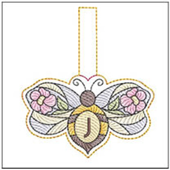 """Bee Charm ABCs - J - Fits a 4x4"""" Hoop - Machine Embroidery Designs"""