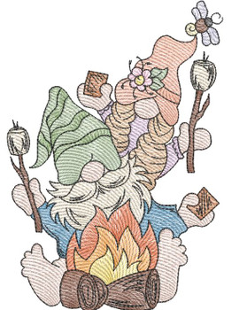 """Campfire Gnomes  -  Fits a 4x4, 5x7 & 6x10""""  Hoop - Machine Embroidery Designs"""
