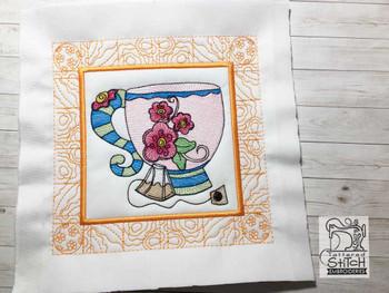 "Tea Cup 1 Quilt Block-Fits a  5x5"", 6x6"", 7x7"", 8x8"" & 10x10""  Hoop - Machine Embroidery Designs"