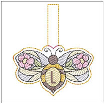 """Bee Charm ABCs - L - Fits a 4x4"""" Hoop - Machine Embroidery Designs"""