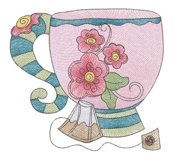 """Tea Cup 1 (No Quilt Block Background) - Fits a 4x4"""", 5x7 & 8x8"""" Hoop - Machine Embroidery Designs"""