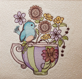 Finch Floral Teacup Quilt Block - Embroidery Designs