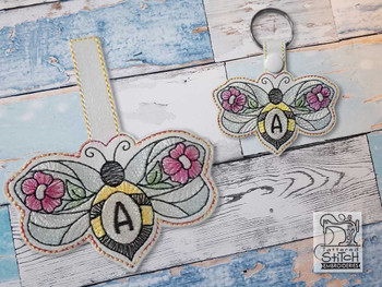 """Bee Charm ABCs - M - Fits a 4x4"""" Hoop - Machine Embroidery Designs"""