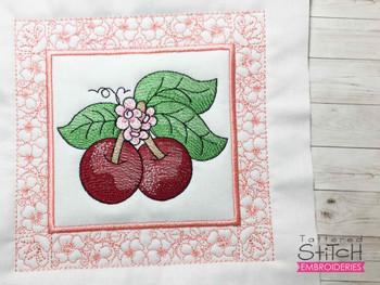 "Cherries Quilt Block-Fits a  5x5"", 6x6"", 7x7"", 8x8"" & 10x10""  Hoop - Machine Embroidery Designs"