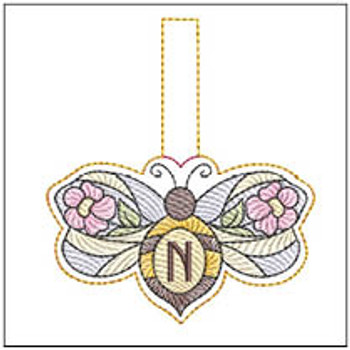 """Bee Charm ABCs - N - Fits a 4x4"""" Hoop - Machine Embroidery Designs"""