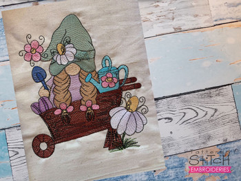 "Gnome in Wheelbarrow  -  Fits a 4x4, 5x7 & 6x10""  Hoop - Machine Embroidery Designs"